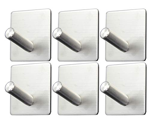Self Adhesive Hooks -6 Pack Towel Hook SUS 304 Brushed Stainless Steel Bathroom Kitchen Organizer Super Power Heavy Duty Wall Mount Coat Hanging Rack from Wilifdom