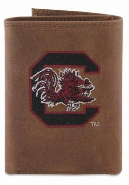 ZEP-PRO NCAA South Carolina Gamecocks Crazyhorse Leather Trifold Embroidered Wallet, Light Brown