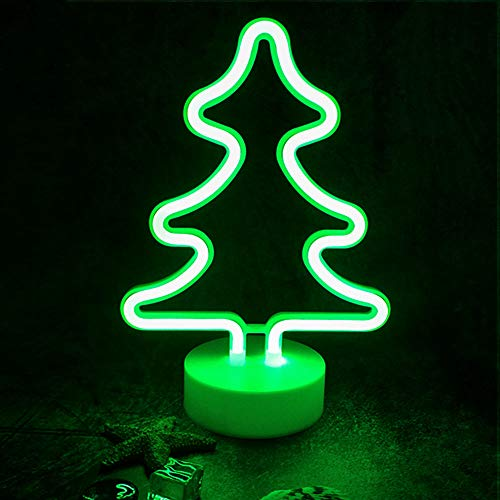StarryMine Xmas Tree Neon Light Signs,Green LED Neon Art Decorative Holder Base,Table Light Marquee Signs/Wall Decoration Kids' Room Birthday Party Light Bar Recreational Wedding Party