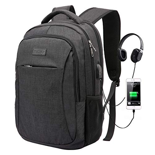 Backpack,College Student School Bookbag Travel Laptop/Computer Bag with USB Charging Port & Headphone Interface for Men Women Boys Girls,Business Water Resistant Fits 15.6 Inch Laptop Notebook,Black (Best Lb In Fifa 17)