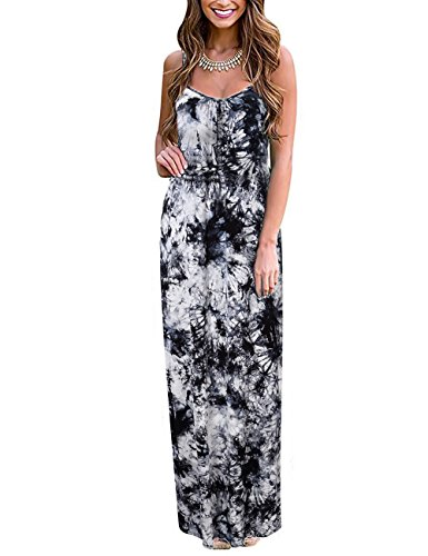 Women's Spaghetti Strap Casual Long Dresses Maxi Sundress P-2 L