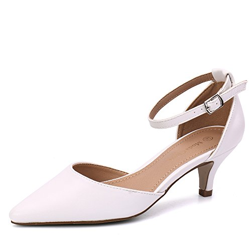 Moda Suede Pumps (Moda Chics Women's Low Kitten Heel Dress Pump Shoes Sandals White PU 7 D(M) US)