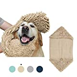 Turquoize Super Shammy Dog Towel Microfiber Chenille Dog Pet Ultra Soft Bath Towel Dry Fast with Hand Pockets Super Absorbent Durable Quick Drying Washable Towel Prevent Mud Dirt, Taupe, 1 Pack