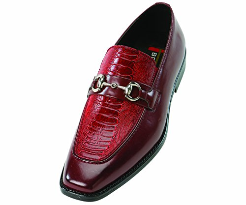 Bolano Mens Burgundy Wine Exotic Slip On with Ostrich Leg Printed Vamp and Smooth on Sides: Style Cass Burgundy Wine-175