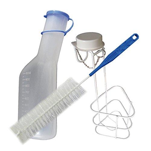 Urinflaschen Urinflasche Komplett-Set: 1x Urinflasche 1Ltr. + 1x Betthalter Urinflaschen Halter Urinflaschenhalter + 1x Reinigungsbürste 1 Stück (=1Set) Tiga-Med