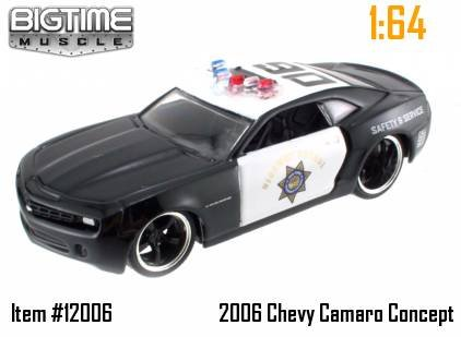 Jada Dub City Big Time Muscle Black 2006 Chevy Camaro Concept Police 1:64 Scale Die Cast - Car Camaro Concept Chevy 2006