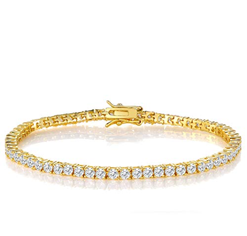 GEMSME 18K White Gold Plated Cubic Zirconia Classic Tennis Bracelet 7.5 Inch (Gold-Plated-Brass)