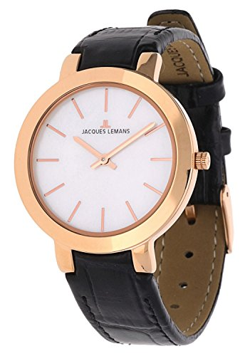 Jacques Lemans Milano 1-1824B 32mm Ion Plated Stainless Steel Case Black Calfskin Mineral Women's Watch