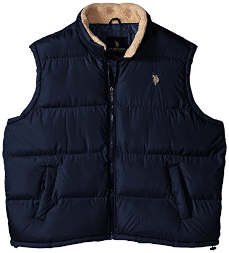 U.S. Polo Assn. Men's Big-Tall Signature Vest with Inner Sherpa Collar, Classic Navy, 2X