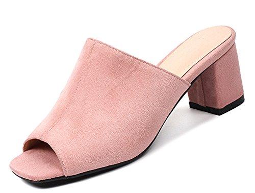 daim carré rose Aisun Sandales pour en talon à imitation femmes moyen Daily qZqPHOxY