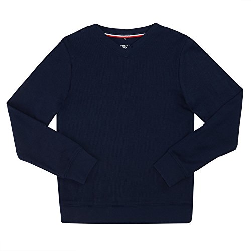 French Toast School Uniform Boys Flat Back Rib Knit Sweater, Navy, X-Large (14/16) (Boys Uniform Sweater)