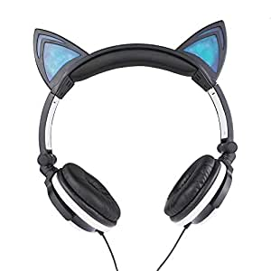 Cat Ear Headphones, KOMRT Blinking Kids Headphones Fashion Glowing Cosplay Headset, Foldable Over-Ear Gaming Headsets with LED Light for Girls, Children, Compatible for iPhone 6S,Android Phone,PC