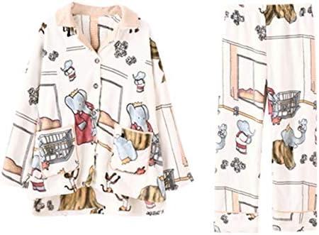 ASDFGG-hm Pijama de Mujer Botón Pijamas Set de Manga ...