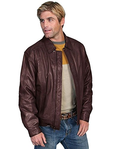 Scully Leather Mens Premium Lambskin Zip Front Jacket Chocolate 2X
