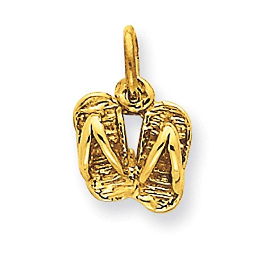 (14k Yellow Gold Solid Polished Sandals Charm Pendant 13mmx8mm)