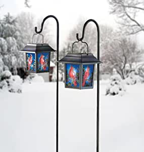Set of 2 Cardinal Stained Glass Solar Holiday Garden Lantern