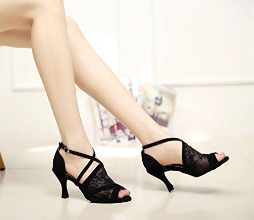 Salón JSHOE Our42 Zapatos Alto Tango Latino Shoes Jazz Baile Salsa De Mujer 5cm UK7 Baile Sexy Zapatos EU41 Dance De heeled8 De Tacón B YrqFYx
