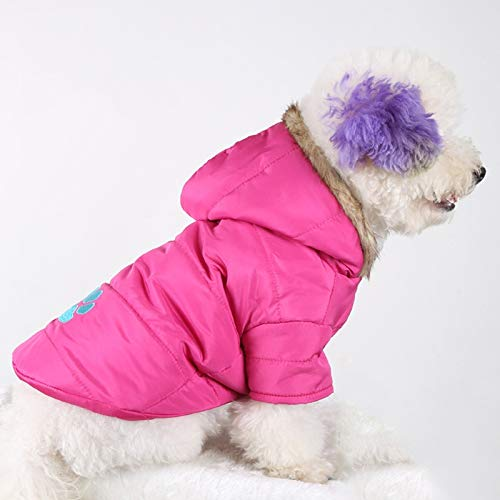 XINGRUI Clothing and Winter Style Pet Embroidered Dog Thicken Warm Cotton Garment Size: S/M, Bust: 46-51cm, Neck: 31-35cm(Dark Blue) (Color : Pink)