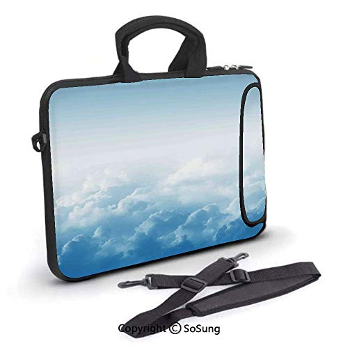 15 inch Laptop Case,Fluffy Clouds High above Ground Mass of Condensed Water Vapor Floating Dream Image Neoprene Laptop Shoulder Bag Sleeve Case with Handle and Carrying & External Side Pocket,for Netb