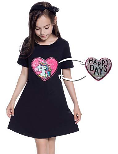 Sequin Unicorn Dress for Girls Shirt Reversible Giftr Cotton Short Sleeve 7-16