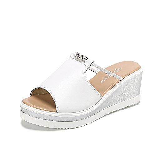 Verano pendientes de cuero y zapatillas/Exterior con zapatillas de fondo gruesas A