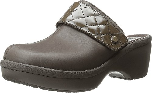 crocs Women's Cobbler Quilt Strap Clog Mule, Espresso/Espresso, 8 B(M) US - Genuine Leather Croc