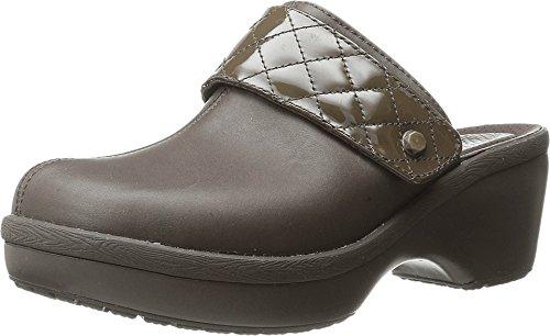 crocs Women's Cobbler Quilt Strap Clog Mule, Espresso/Espresso, 8 B(M) US (Genuine Leather Croc)