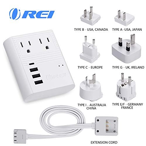 Travel Adapter Power Strip by OREI, International Plug for Worldwide Wall Charger with 3 USB + 1 USB-C PD & 2 USA Input Charging Ports for Cell Phones, Laptop, Camera Chargers, CPAP, More