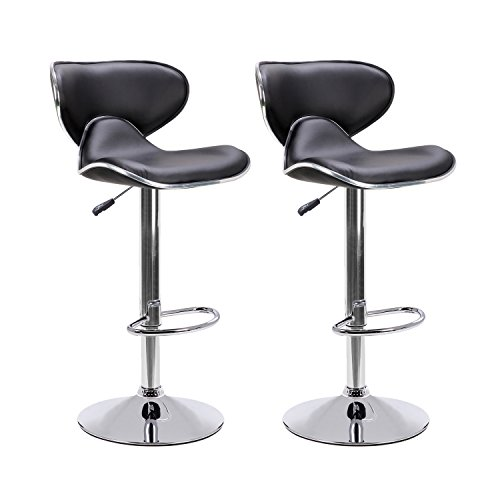 LCH Adjustable Swivel PU Leather Bar Stools - Set of 2 Saddle Back Design Bar Stool Chairs with Polished Chrome Base and Footrest, (2 Leather Match Chair)