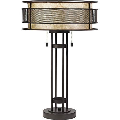 (Quoizel MC4048WT Landsdowne Mica Table Lamp Lighting, 2-Light, 120 Watts, Western Bronze (25