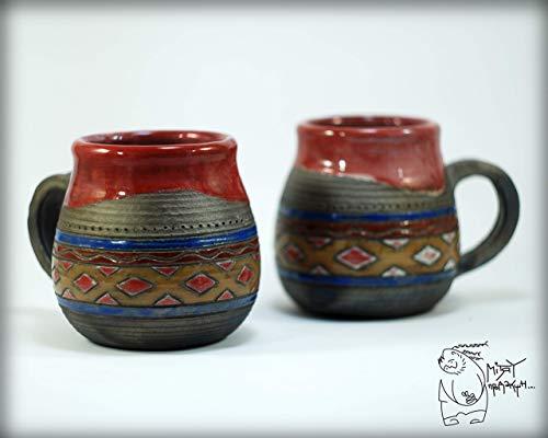 Ornamental handmade ceramic raku mug 280 ml/9 Oz, teacup with pattern, geometric drawing clay mug, raku pottery unique gift