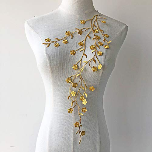 (Delicate Floral Vines Motif Iron on Embroidery Leaf Plum Flower Applique Patch Addition for Dance Costumes Craft Projects Gold Color)