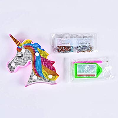 LUCUNSTAR Unicorn Night Lights for Kids Diamond Painting Unicorn with LED Lights DIY Diamond Kits Full Drill Crystal Diamond Drawing Bedside Kids Lamp for Home Decoration 7.1x5.8 inch: Home & Kitchen