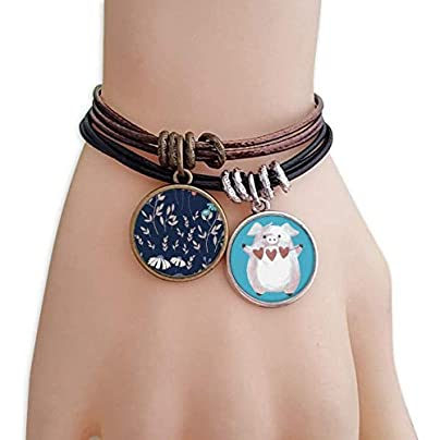 White Blue Flower Plant Paint Bracelet Rope Wristband Pig Heart Love Set Estimated Price £9.99 -