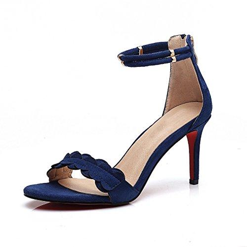 Marea Nuevo Sandalias Xiaoqi Coreano Salvaje Redondo Punta Con Abierta De Alto Azul Femeninos Zapatos Fino Verano Tacón Sexy gdwqnx1Zg