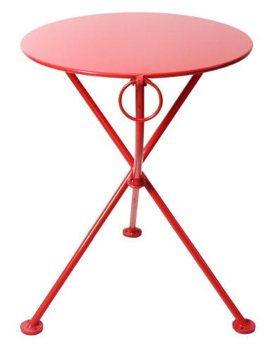 Mobel Designhaus French Café Bistro 3-leg Folding Bistro Table, Flame Red Frame, 24'' Round Metal Top x 29'' Height by Mobel Designhaus