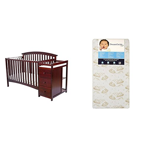 Dream On Me Niko 5 in 1 Convertible Crib with Changer with Dream On Me Spring Crib and Toddler Bed Mattress, Twilight Red Convertible Crib