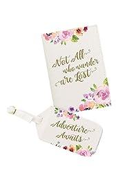 Lillian Rose AZ400005 AD Adventure Passport Cover & Luggage Tag, Off White
