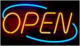 OVAL REAL GLASS BRIGHT NEON OPEN SIGN / LIGHT - NOT LED OPEN SIGNS - VIVID BRIGHT COLOR BIG FOR SHOP STORE BAR CAFE RESTAURANT BEER SALON BUSINESS