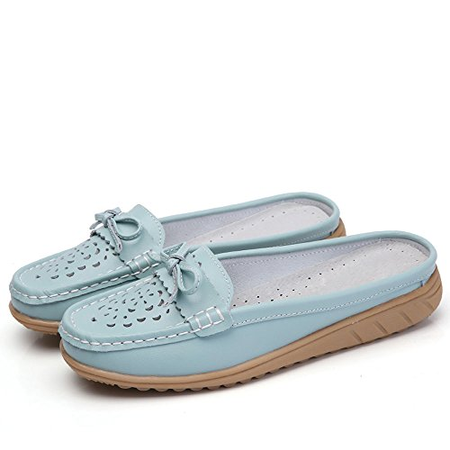 Vilocy Dames Holle Lederen Backless Lui Instappers Flats Slip Op Muilezels Schoenen Walking Slipper Blauw