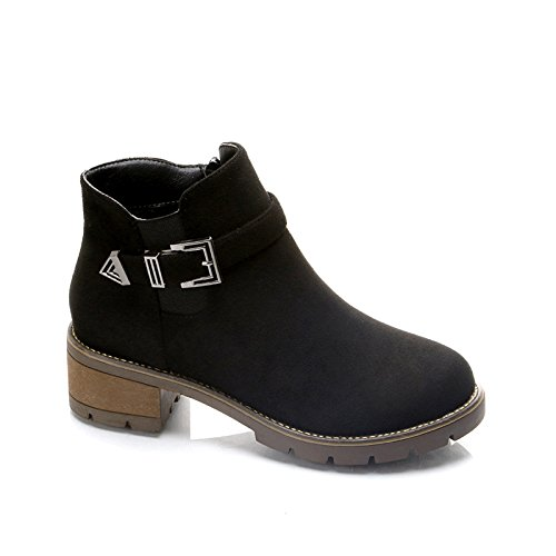 KPHY-Autumn Martin Boots Female English Style With Bold With Satin And Versatile New Students. Thirty-five