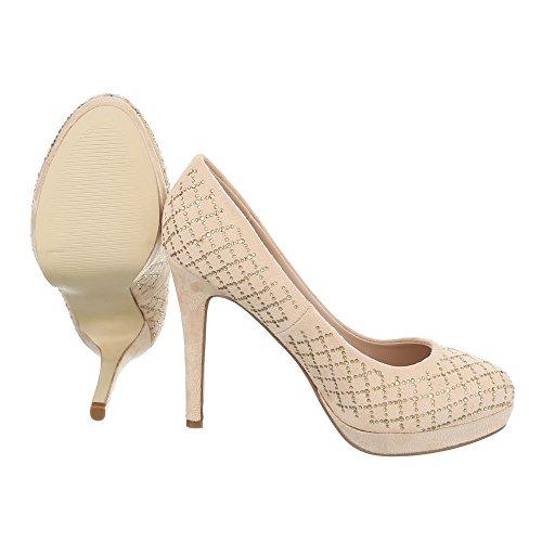 Ital-Design - Zapatos de vestir de Material Sintético para mujer Beige