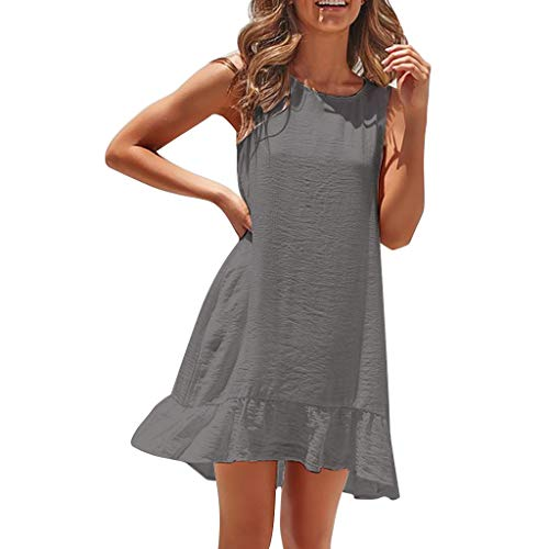 ZOMUSAR 2019 Ladies Dress, Sexy Womens Fashion Sleeveless Solid Color Casual Pleated Loose Summer Dress ()