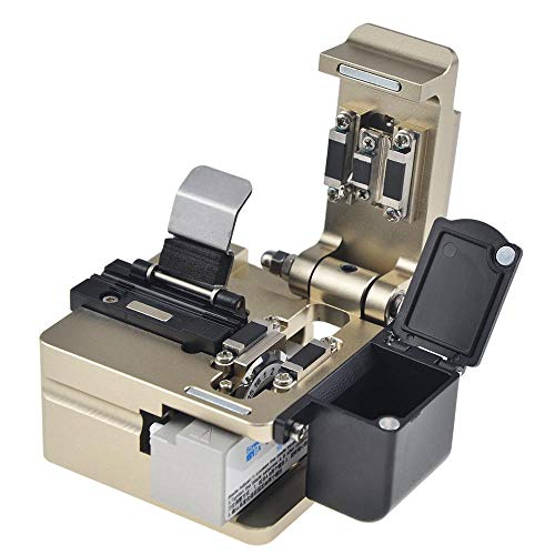 eTayson Fiber Fusion Splicer Tool T06 High Precision Fiber Cleaver Fiber Optics Cutter with 16 Surfaces Blade & Fiber Collecting Box