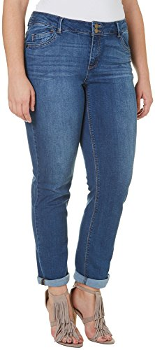 Democracy Women's Plus Size Medium Wash Straight Leg Wide Cuff – Blue, 22 Plus