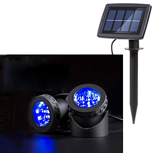 MD Lighting Underwater Solar LED Landscape Spotlight with 2 Submersible Lamps, Blue 12 LED Pond Light for Outdoor Path Yard Garden Driveway Porch Walkway Pool Patio