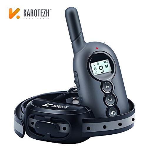 (Karotezh Dog Training Collar, Rechargeable Shock Collar, Up to 1500Ft Remote Range, 100% Waterproof, with Security Lock and 4 Training Modes Light/Beep/Static Shock/Vibration)