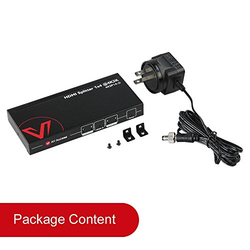 AV Access HDMI Splitter 1x4,1 in 4 out 4K 1080p 3D, PCM7.1, Dolby TrueHD, DTS-HD Master Audio, Auto EDID, Threaded Power Supply,With Built-in Surge Lightning Protection(one input four output) by AV Access (Image #8)