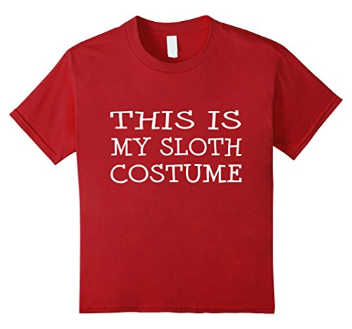 [Kids This is My Sloth Costume T-Shirt Last Minute Halloween Party 4 Cranberry] (Last Minute Halloween Costume Ideas College)