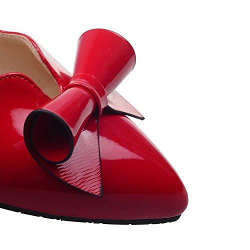 Allhqfashion Rosso Ballet Fbuidc005171 Punta Tirare Donna Puro Tacco Chiusa flats Basso Luccichio HqFwpUH